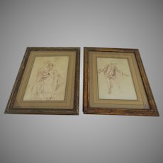 French Red Chalk Drawings 18th Century Pair
