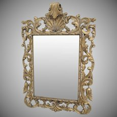 Large Italian Rococo Style Gilt Carved Wood Mirror