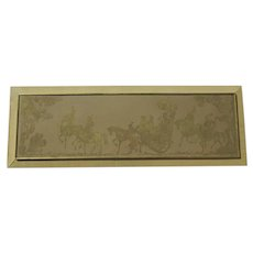 Chinese Gilt on Silk Fabric Horses People Long
