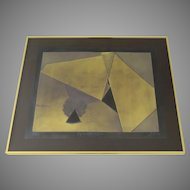 """Collage Collagraph by Sica Golds Signed Numbered """"Pyramids in the Sun and Shade"""""""