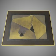 "Collage Collagraph by Sica Golds Signed Numbered ""Pyramids in the Sun and Shade"""