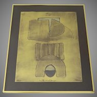 """""""Milk and Honey""""  Limited Edition Collagraph by Sica Metallic Abstract Framed"""