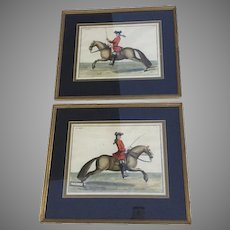 Horse Management by Baron Eisenberg, Two Handcoloured Framed Prints 'Le Rubis' and 'L'Aimable'