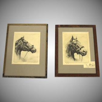 Vintage Prints Racehorses by R.H. Palenske, Pair