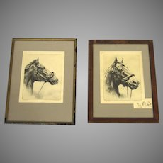 Vintage Prints Thoroughbred Horses by R.H. Palenske, Pair