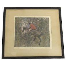"Vintage Print Hunt Scene ""The Gap"" by A.J. Munnings"