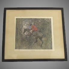 "Vintage Print Hunt Scene ""The Gap"" by A.J. Munnings"