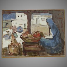 Painting Oil on Canvas (Mexican Market) by  Maria Lowenstein, (1894–1982, b. Estonia) Signed