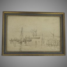 Watercolor Pierce and boats by Philip Connard 1875-1958