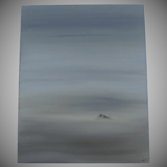 Modern Signed Painting by Andrew Miller '00 Two Mountain Peaks