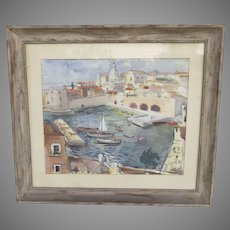 Mid Century Watercolor by Nikola Besevic, Croatian  (1892-1970) Port of Dubrovnik City in Croatia Boats Water Cityscape