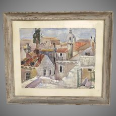 Mid Century Watercolor by Nikola Besevic, Croatian (1892-1970)  Dubrovnik City in Croatia Roof Top Cityscape