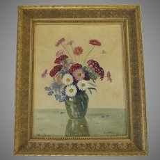 Oil Painting of Flowers by Chas W. Delaney on Artist Board