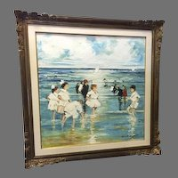 Very Large Oil on Canvas by  Dimiter HRISTOFF, (Bulgarian, 1926-) Figures on Beach Scene Signed