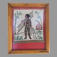 19th Century Beaded Tapestry Fragment Framed