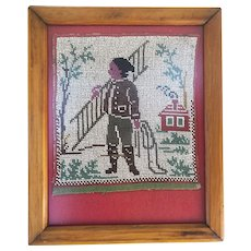 19th Century Beaded Tapestry Fragment Framed