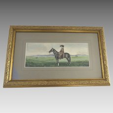 Early 20th Century Painting Watercolor Equestrian Mountain Scene Woman Riding Horse
