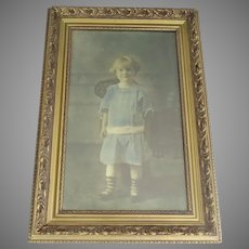 Late 19th Century Hand-Tinted Photographic Portrait Child