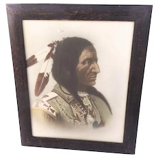 Early 20th Century Hand-Tinted Photograph Chief Hollow Horn Bear Native American