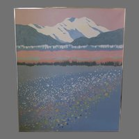 """Large Acrylic Painting Signed Dated Mountain Wildflowers Dorothy Talbott 1991 44"""" by 52"""""""