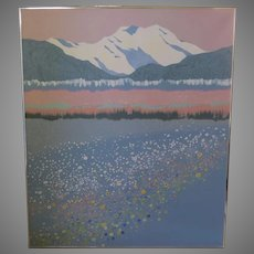 "Large Acrylic Painting Signed Dated Mountain Wildflowers Dorothy Talbott 1991 44"" by 52"""
