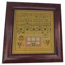 Vintage Cross Stitched Sampler Signed Dated 1995 Alphabet, House, Birds, Basket