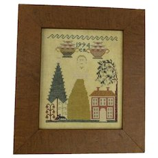 Vintage Cross Stitch Sampler Signed Dated 1994 House Tree Woman Horse