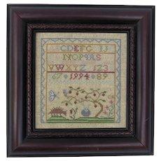 Vintage Cross Stitch Sampler Signed Dated 1994 Alphabet Tree Porcupine