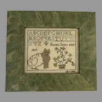 Vintage Cross Stitch Sampler Dated 1994 Signed CR Cat Flowers Alphabet