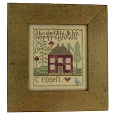 Vintage 1995 Dated Cross Stitch Sampler with House Alphabet