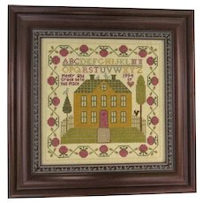 Vintage Cross Stitch Americana Sampler Dated 1995 House Alphabet Bird Apple Border