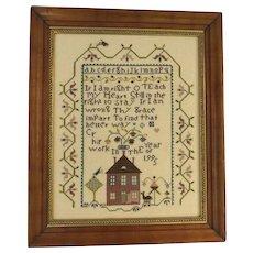 Vintage Cross Stitch Sampler Dated 1995 House Alphabet Bird Americana Country