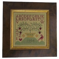 Vintage Cross Stitch Sampler Dated 1994 House Alphabet Bird Americana Country