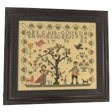Vintage Cross Stitch Sampler Dated 1995 House Alphabet Apple Tree Bird Americana Country Abigail Gould Kit Completed  Dated 1995
