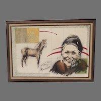 Vintage Portrait Painting Horse