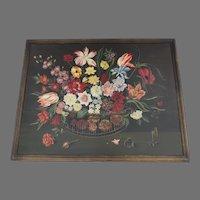 Karl Mann Associates Mid-Century Oil Painting on Board Flowers Still Life Folk Art