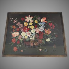 Karl Mann Associates Mid-Century Oil Painting on Board Flowers Still Life Folk Art
