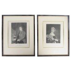 19th Century Engravings of Abigail Adams and Edmund Burke Wood Gilt Framed