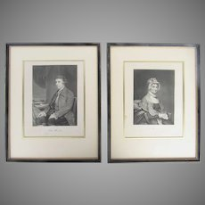 19th Century Engravings of Abigail Adams and Edmund Burke Wood Gilt Framed