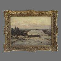Oil on Canvas Dutch Netherland Snow Winter Farm Scene by David Schulman  (1881 - 1966)