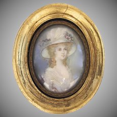 Vintage Miniature Portrait of a Woman in Hat Oval Gilt Frame