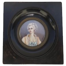 Vintage Miniature Portrait of a French Woman 18th Century Dress