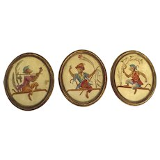 "Early 20th Century Set of Three Oval Paintings ""Singerie"" Depicting Monkeys Imitating Human"