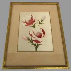 Vintage Mid-Century Kitsch Flower Painting on Silk by Henry LaForet