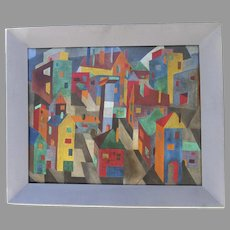 Vintage Colorful Oil on Artist Board Painting by Helyn Cannon