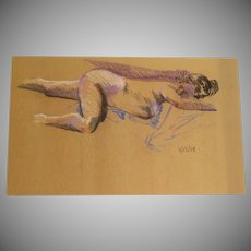 Vintage Nude of a Woman by Doug Post on Butcher Paper