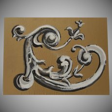 """C"" Scroll Art on Butcher Paper Mounted on Foam Board by Doug Post."
