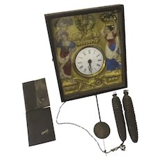 19th Century French Wag Wall Clock Enamel Painted Repousse Face Hinged Door As Is