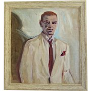 Vintage Painting Portrait of a Handsome Man with White Jacket