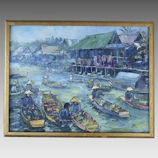 Vintage Signed Painting River Boats Vietnam Asian